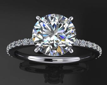 eliza ring - 1.5 carat round NEO moissanite engagement ring, diamond pave band