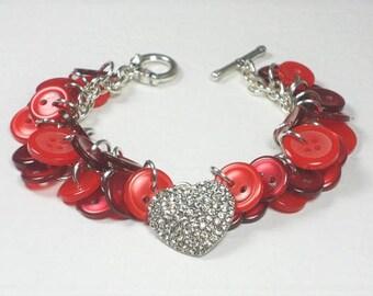 Heart Bracelet, Red Button Bracelet, Valentine's Day Gift for Her, Button Charm Bracelet