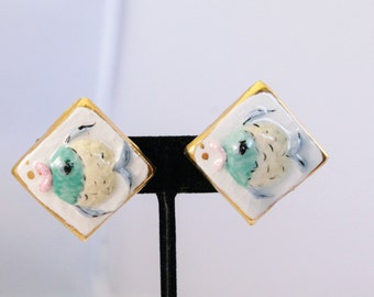 Interesting Ceramic With Painted Fish Earrings - Screw On