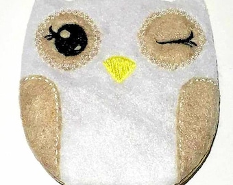 Mr. Winks Owl Softie- Embroidery Design - DIGITAL DOWNLOAD - 4X4 Hoop or Larger - In the hoop Stuffie - Winking