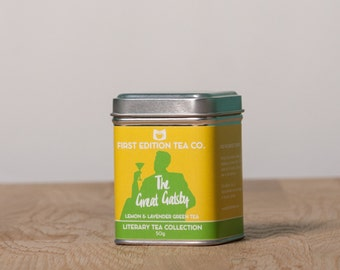 The Great Gatsby Loose Leaf Tea - Lemon and Lavender Green Tea - 50g gift tin - Tea Cocktail Blend - Book Themed Tea -