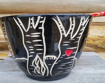 Pottery Noodle Bowl, Chopstick Bowl, Tree of Life, Ramen Bowl, Black and White Bowl, Pho Bowl, LoMein, Udon, Asian Bowl, Rice Bowl, Heart