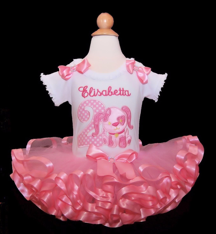 2nd Birthday Girl Outfit Puppy Love Tutu Ribbon Trim Toddler Dress Cake