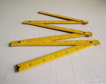 Folding Wooden P.M.P.T. Ruler , Vintage Measuring Tool , Extension Meter Rule , Folding Wood Measuring Stick , Industrial Decor