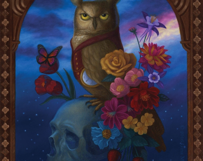 Owl Night Time Flowers Skull Nature Illustration Art Print