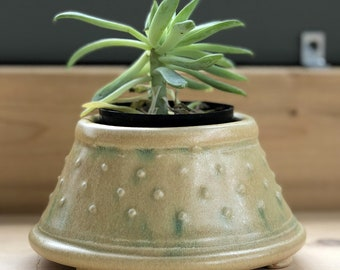 Small Size Indoor Succulent or Cactus Planter-Stoneware with Stained Peachy Glazed Exterior Surface Accenting Raised Dot Pattern