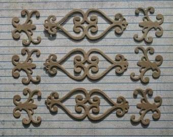 9 Pieces Scroll Bare chipboard die cuts diecuts
