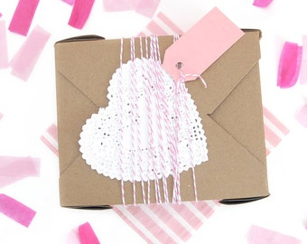 Gift Wrap Heart Paper Doilies for Presents, Crafting, Scrapbooking and Finishing Touches