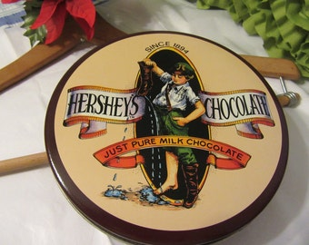 Tin  Hershey Advertisement Unique Vintage Chocolate  Collector for You Country Decor Kitchen Decor Home Decor Gift Idea Storage Collectible