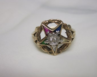 Vintage Ladies Eastern Star Ring Masonic 10K Gold Diamond Gemstones Womens Size 8.5