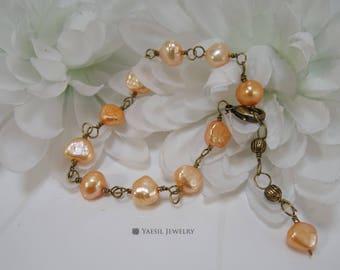 Vintage Style Pearl Bracelet, Wedding Bracelet, 7-8mm Apricot Pearl Bracelet, Birthday Gift, Mother's Day Gift