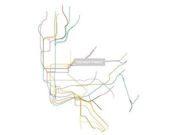 NYC Subway Map ( Line Art )  - 12 x 12 PRINT