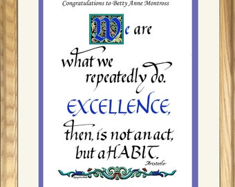 Excellence, a Personalized Motivational Gift to Reward Success, hand lettered by Jacqueline Shuler