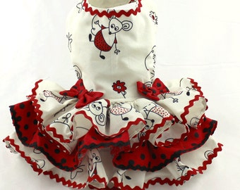 Dog Harness Dress, Dog Dress, Dog Fashion, Ruffle Dress for Dogs, Summer Dress for Dog, Custom Dog Dress, Handmade Dress for Dog, Red, Mouse
