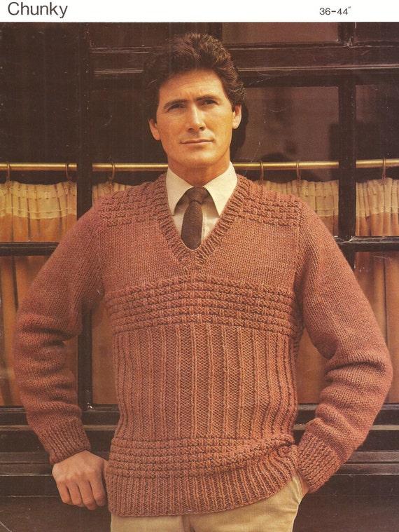 Pdf Knitting Pattern Mens V Neck Raglan Chunky Knit Sweater Sizes 36