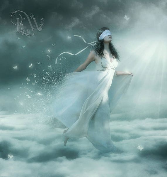 fantasy surreal woman in clouds with butterflies art print