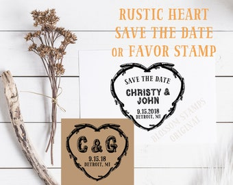 Rustic Twig Heart Wedding Save the Date Rubber Stamp //  Wedding Favor Stamp - Handmade by Blossom Stamps