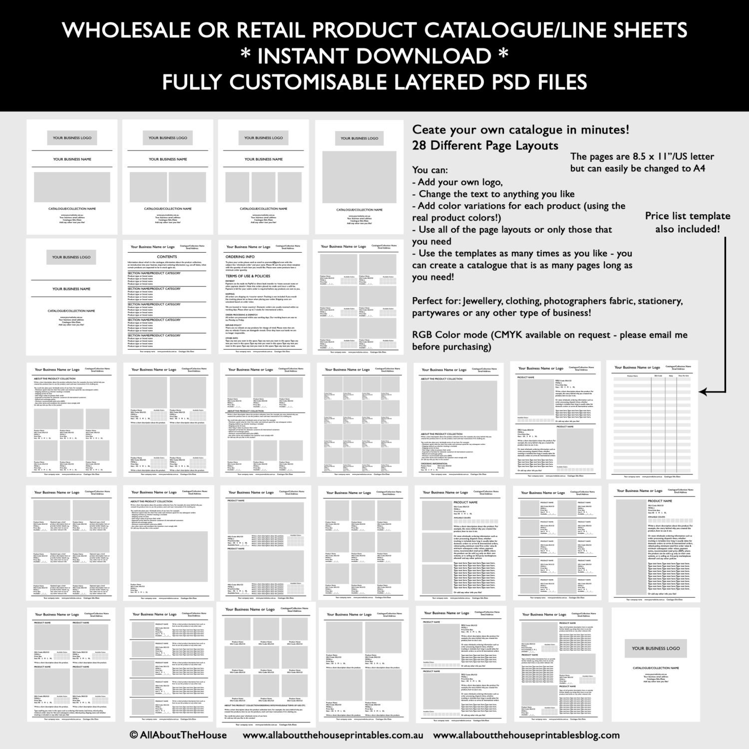 Catalogue Template Wholesale Retail Pricing Product Line - Wholesale line sheet template