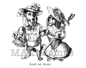 Dog rubber stamp / Hansel and Gretel as dogs / Unmounted rubber stamp (130413)