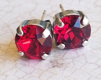 Ruby stud earrings in silver toned settings, stud earrings, gifts for her, mother's day gifts, bridal jewelry, bridal studs, Swarovski gifts
