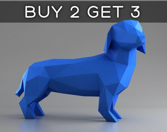 Dachshund - Wiener dog - 3D papercraft model. Downloadable DIY template