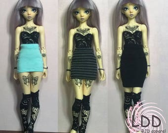 High Waist Skirt, Mini, Thigh or Knee High for MiniFee and similar 1/4 Slim MSD BJD, 3 colors.