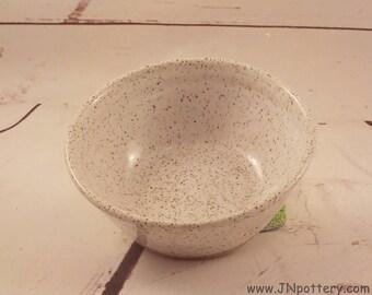 Small Pet Food Dish - Kitty Water Bowl - Stoneware Puppy Dish - Speckle White Glaze - Ceramic Kitchen Prep Bowl - Ready to Ship  v645