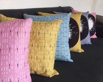 Pink/Grey/Yellow/Blue Dash line cushion 45 x 45cm
