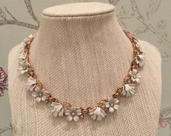 "Trifari ""Fleurette"" Necklace with Gold Tone Setting and Rhinestones - 1955 Vintage White Enamel Flower Necklace"
