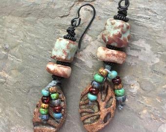 Tribal Earrings, Ceramic Jewelry, Eclectic Prairie, Unusual Earrings, Artisan Jewelry, Rustic Earrings, Ethnic Earrings
