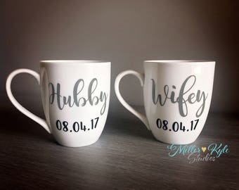 Hubby & Wifey Personalized Coffee Mugs | Wedding gift | Bridal Shower gift | Engagement Gift | Couples Gift | Custom Mug | His and Hers