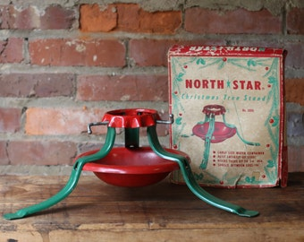Vintage 1950's Green and Red Metal North Star Christmas Tree Stand