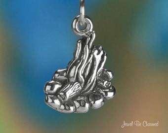 Sterling Silver Campfire Charm Flames Fire Cookout Camping Solid .925