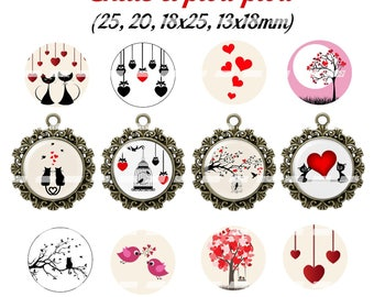 60 digital images for cabochon cats and cheep-cheep (25, 18 x 25, 20, 18x13mm)