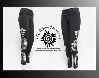 COSMOS - Womens / Juniors Cut Up, Shredded and Weaved High Waist Dark Grey Leggings, Festival Wear, Burning Man Wear