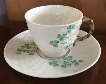 Vintage Belleck Porcelain Cup and Saucer with Shamrocks - Made in Ireland - 1926 to 1946