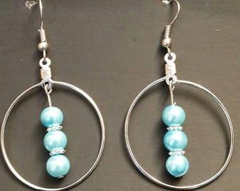Silver Hoop Earrings with Aquamarine Czech Beads