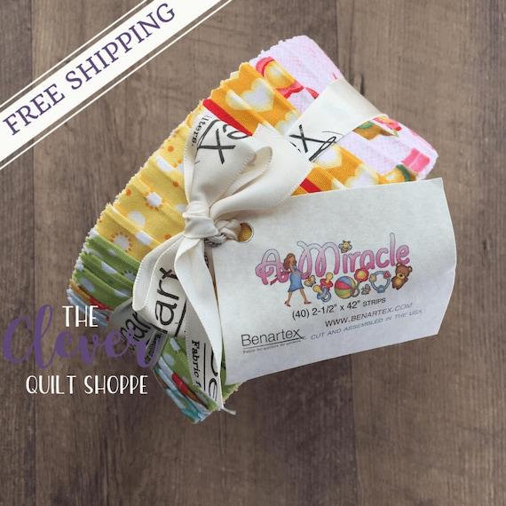 "Jelly Roll 2.5"" Strips, Benartex, A Miracle, Benartex, 40 pcs, Precut Quilting Fabric, Baby, Nursery"