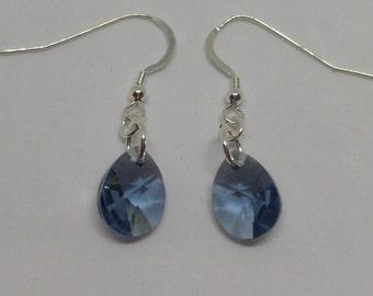 Sterling Silver Swarovski Crystal Denim Blue Mini Pear Earrings