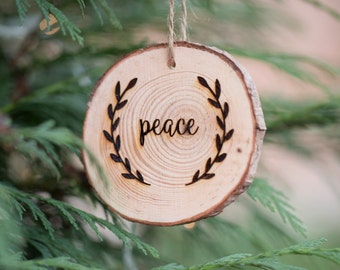 Peace Hanging Christmas Tree Decoration - Engraved Wooden Log Slice Christmas Decoration
