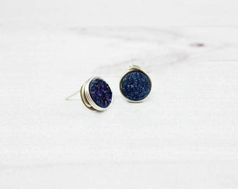 Druzy Earrings, Minimalist Earrings, Bridesmaid Earrings, Natural Stone jewelry, Sapphire, Sterling silver, Gold Filled, Stud Earrings,Small