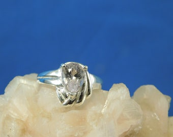 1.86 ct. Pear Kunzite Ring High Polished Sterling Silver