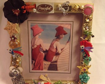 5x7 Beautifully Jeweled Summer Fun Picture Frame. Great Housewarming gift.