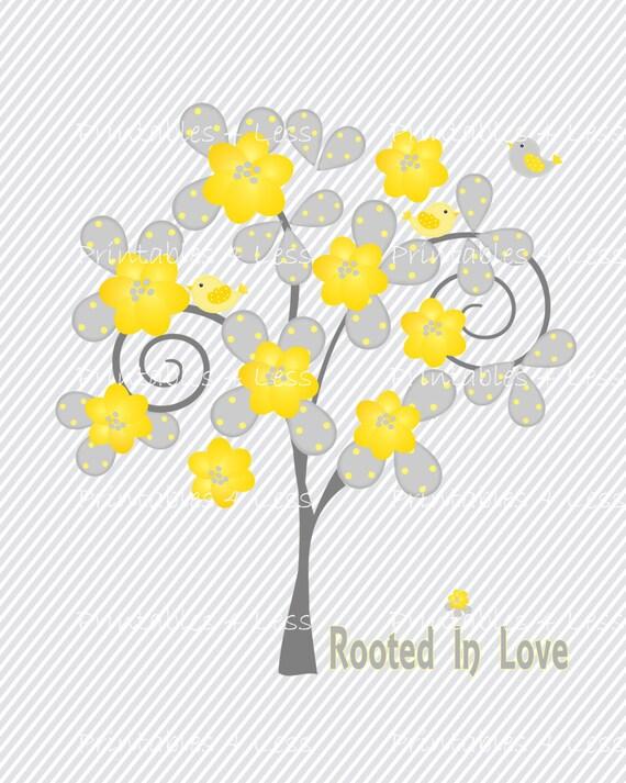 Yellow Gray Tree Wall Art DIY Tree And Bird Wall Art DIY