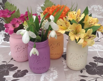 Hand painted and distressed Mason jars.
