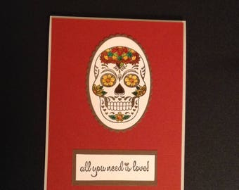 Valentine Sugar Skull handmade card