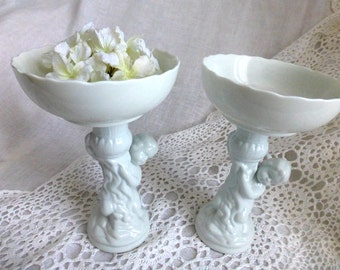 Shabby Cupid Dish-White Ceramic Pedestal Jewelry Stand - Display Angel Bowl - Bridal Candy Cupcake Dish - Vintage Wedding, French Country