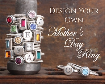 Design your own Mother's Day Ring! Stacking Birthstone and Initial Rings in Sterling Silver. Personalized Family Ring. Gift for Mothers Day!