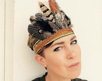 SIROUX - Handmade Bohemian Headdress, Feather Headpiece, Feather Headband, Ibiza, Burning man, Festival Accessories, Tribal, Native American