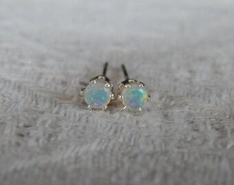 Opal 3mm Studs, Tiny Opal Sterling Stud Earrings, Ethiopian Opal Post Earrings, Opal Posts, October Birthstone, AAA Grade Welo Opal, Opal